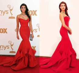 Wholesale Nina Dobrev Emmy - Nina Dobrev Red Evening Party Dress Sweetheart Emmy Awards Formal Evening Celebrity Dresses With Strapless Ruffles Backless Mermaid 2015 Pro