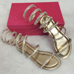 Wholesale Teal Crystal Shoes - 2018 Summer women sandals Crystal Sexy Women Gladiator Sandal Ladies Boots Snake Flat Women Shoes Roman shoes Plus size 34--40
