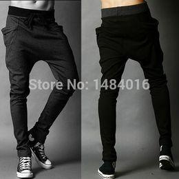Wholesale Low Crotch Sweatpants For Men - Wholesale-New Free Shipping jogger pants men,hip hop harem pants,men's banana dance pants,sport low drop crotch sweatpants Pants for men