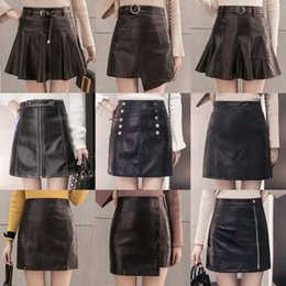 Wholesale Leather Pants Bag - new winter leather skirt waist slim Pu small leather a A-line dress bag hip skirt skirt pants tide