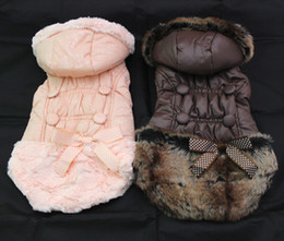 Wholesale Jacket Wedding New - Pet Dog Winter warm coat Hoody Buttons&bow Pet Puppy Jacket Clothes 6 sizes