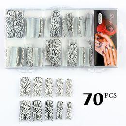 Wholesale White Glitter Tips - Wholesale-Y&S 70pcs lot Beauty Glitter Balck white Leopard Design French False Nail Art Tips NEW