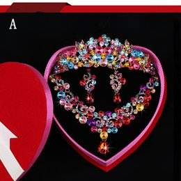 Wholesale Colorful Rhinestone Bridal Necklace Sets - New Fashion Shinny Bridal Jewelry Sets Colorful Crystal Wedding Crown Earrings Necklace Tiaras Accessories Headdress Bridal Accessories