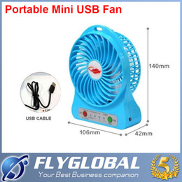 Wholesale Table Lamps Rechargeable Batteries - Portable Mini USB Fan Rechargeable Battery Operated LED Lamp for Indoor Outdoor Kids Table Fan 18650 Battery With Retail package flyglobal