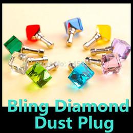 Wholesale Diamond Ball Plug - Wholesale-Alloy Crystal Diamond Ball Dustproof Plug Water Cube Dust Plugs Dust stopper for iPhone 6 Samsung 3.5mm Plug Mixed colors