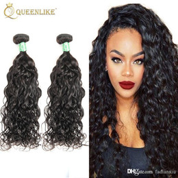 Wholesale Water Waves Extension - Unprocessed Remy human hair extension Water Wave Natural Color Wet and Wavy Brazilian Virgin hair Weave Bundles Queenlike Silver 7A Grade