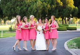 Wholesale Short One Shoulder Bridesmaids Dresses - Hot Sale One Shoulder Short Bridesmaid Dresses Handmade Flower Knee-Length Pleats Chiffon Short Party Evening Gowns
