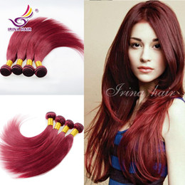 Wholesale Chinese Wholesale Beauty Products - Beauty Hair Products 100% Unprocessed Human Hair Wine Brazilian Virgin Hair Extension 3 bundles Burgundy 99j Brazilian Silky Straight Hair