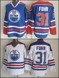 Wholesale Cheap Hockey Jerseys Edmonton - Cheap Edmonton Hockey Jerseys Throwback #31 Grant Fuhr Jersey Team Color Blue White Vintage Grant Fuhr Jerseys Embroidered Logo