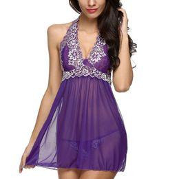 Wholesale ladies nightwear hot - Wholesale- Hot Women Ladies Lace Sleepwear Halter Nightwear S-XXL