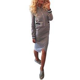 Wholesale New Korean Women S Dresses - New Arrival Korean Women Dress 2016 Solid Long Sleeve Stripe Patchwork Bodycon Vestidos Casual Knee Length Split Dresses S-XLF