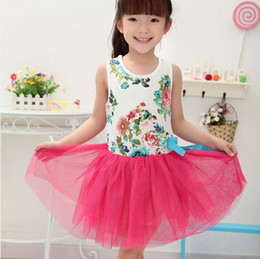 Wholesale Girls Floral Dress Green - Summer Girls Children Tank Flower Bowknot Tulle Dress Childs Floral Dresses Kids Party Dressy White Pink Rose Watermelon Green Fuchsia M1929