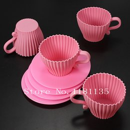 Wholesale Tea Cupcakes Mold - 4pcs Pink Silicone Cupcake Cups Cake Mold Muffin Baking Mould Chocolate Tea Cup Case Free Shipping