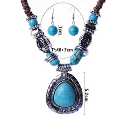 Wholesale Tibetan Set Earrings Necklaces - Fashion Tibetan Style Jewelry Set Malaysia Imports Natural Coconut Shell Vintage Silver Turquoise Necklaces Earring Sets TL95461