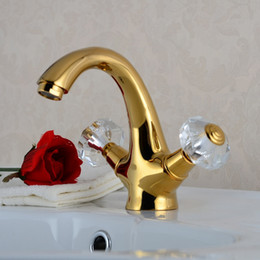 Wholesale Swan Faucet Crystal Handles - Golden Polished Faucet Bathroom Basin Sink Mixer Tap Noble Gorgeous Swan Style Crystal Handles