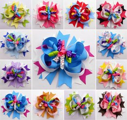 "Wholesale Kids Hair Clip Flower - 30pcs 4.5"" spike boutique hair clips bows flower korker kids girl gift headwear accessories"