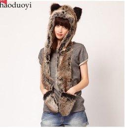 Wholesale Hat Scarf Glove Sets Women - Wholesale-2015 New Winter Women Fashion Faux Fur Bear Head Scarf, Hat & Glove Conjoined Sets Christmas Gift 8056