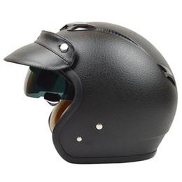 Wholesale Vintage Scooter Helmet Xl - Fashion halley ZEUS 381C 3 4 helmet vintage motorcycle helmet retro Moto Casco scooter capacete open face helmet M L XL XXL DOT