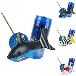 Wholesale Remote Control Rc Submarines - Mini RC Shark Under Water Coke Zip-top Remote Control Shark Fish Kids Electric Water Game Boat Submarine Toy LA560-2