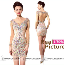 Wholesale Long Sparkly Graduation Dresses - 100% Real Image Sparkly Homecoming Dresses Long Sleeve Party Prom Gowns Graduation Cocktail 2015 Occasion Dresses IN STOCK Dress Cheap