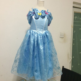 Wholesale Costume Children Cinderella - 2015 Newest Cinderella Dress For Kids Children Cinderella Cosplay Costume Girls Princess Fancy Dress butterfly free shipping in stock