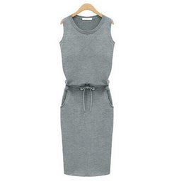 Wholesale China Fashion Working Woman - 2015 Fashion Women Summer Slim Dress Trend Grey Sleeveless With Belt Dress Pencil Casual Dresses Cheap clothes China