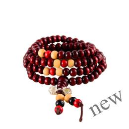Wholesale Red Agate Mala - NEW PRAY BEST RED 1PCS HOT 108 Sandalwood Buddhist Buddha Meditation 6mm Prayer Bead Mala Bracelet Necklace