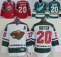 Wholesale Cotton Shirts Cheap - Minnesota Wild Jersey #20 Ryan Suter Red Home White Road Green Alternate Cheap 2016 New MN Wild Mens Ice Hockey Jerseys Shirt