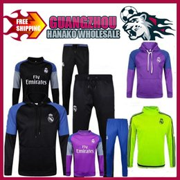 Wholesale Yellow Sweat Suits - 2017 Soccer tracksuits Best quality survetement football Marseille Real Madrid training suit sweat top chandal soccer jogging football pant