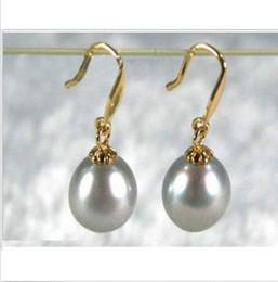 Wholesale South Sea Dangle Pearl Earrings - new 9x11MM gray AAA+++ south sea pearl dangle earring 14K gold
