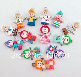 Wholesale Polymer Clay Bracelets - 100pcs Vintage Mixed Polymer Fimo Clay Girl Boy Slide Charms Pendants For Bracelet Necklace Jewelry Making DIY Accessories NEW P1808