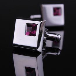 Gemelli di porpora mens online-Gemelli d'argento gemelli d'argento di affari del gemello di lusso della gemma austriaca della gemma di lusso superiore di modo Gucci gemelli d'argento di affari per l'uomo