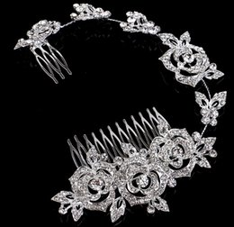 Wholesale Cheap Rhinestone Combs - 2015#HB07 Beautiful Crystals Bridal Hair Accessories Cheap Bridal Jewelries Fashion Hair Tiaras New Bridal Hairpieces