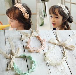 Wholesale Copper Wreath - Korea children's hair jewelry flower pearl lace ribbon hair band girl's hair hoop new wreath headbands