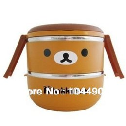 Wholesale Rilakkuma Lunch Boxes - Wholesale-Lunch boxes HELLOKITTY rilakkuma cartoon stereo double stainless steel thermal Lunch boxes lunch box cooler to the pot