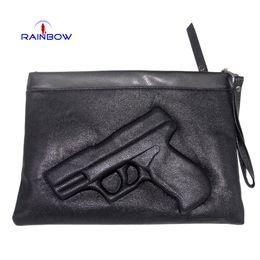 Wholesale Rivets Gun - New Styles Women's 3D Print Gun Shoulder Bag With Strap Fashion Trend Pistol Day Clutch Bags Black Handbags On Sale