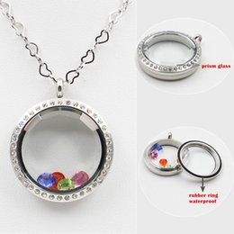 Wholesale Crystal Prisms Glass Wholesale - 30mm screwed-off silver gold rose gold 316 stainless steel prism glass czech crystals floating charm locket photo locket pendant