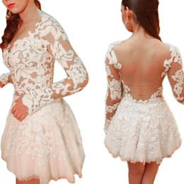 Wholesale Embroidery Womens Evening Gown - S5Q Womens Lace Hollow Runway Sexy Slim Long Sleeve Bodycon Evening Cocktail Mini Dress AAAECQ