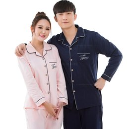 Wholesale Women Sleepwear Pajama Set - Wholesale- Spring Autumn Couple Cotton Pajamas Set Women Men's Pijamas Long Sleeved Pajama Sleepwear Mujer Lover Pyjamas femme Homewear