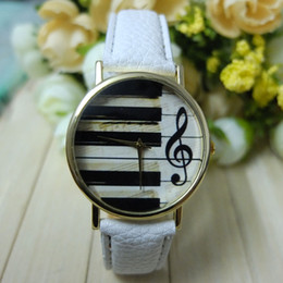 Wholesale Watch Piano - Wholesale-Fashion Geneva Women & Men Analog Quartz Piano Keyboard Musical Note Watch Wristwatch Lady Dress Ornament