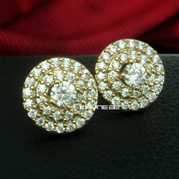 Wholesale Sapphire Gold Filled Earrings - Jewelry Lady's Hot Clear Sapphire 18K Gold Filled Party Stud Earrings Gift e187