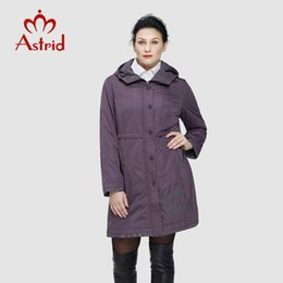 Wholesale women s trench coat pattern - Wholesale- Astrid 2018 Women Trench Coat Women's Fashion Long Sleeve pattern embroidery casual women down Hooded Plus Size freeship AS-9568
