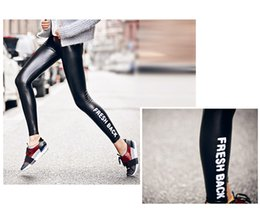 Wholesale Sexy Warm Leggings Tights - Sexy Women Skinny Faux Leather Stretch High Waist Leggings Winter Warm Ninth Tights Pants Faux Leather Black Casual Leggings Words Printed