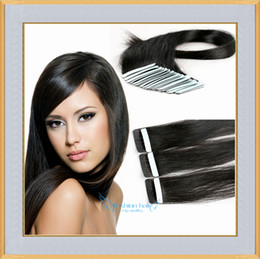 Wholesale Cheap Remy Tape Hair - Cheap Tape In Hair Extensions 16-26 inch Black Brown Blonde Straight Indian Remy Human Hair Skin Weft 20pcs Per Set