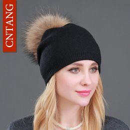 Wholesale Natural Wool Yarn - Autumn Winter Knitted Wool Hats For Women Fashion Pompon Beanies Fur Hat Female Warm Caps With Natural Genuine Raccoon Fur Cap