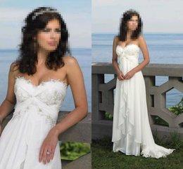Wholesale Designer Wedding Gowns Chiffon - In Stock Sexy Beach Wedding Dresses Strapless Chiffon Embroidery Ruffles Empire Sweep Train Bohemian Designer Bridal Gowns
