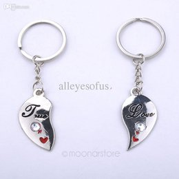 Wholesale Couples Blue Stainless Steel Rings - Wholesale-1pair Lover Couple Keychain Key Chain Ring Love Heart Romantic Birthday Pendant Gift For Couple FYMPJ519M5