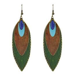 Wholesale Ethnic Earrings For Women - New Fashion Design Indian Jewelry Leaf Earrings Ethnic Style Feather Shape Long Dangle Earrings For Women