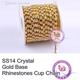 Wholesale Crystal Ss14 - Wholesale-High Quality Wholesale SS14 Crystal clear Gold Base Cup Chain 10 Yards For Making Crafts