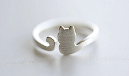 Wholesale Cute Simple Rings - 10PCS- R013 Gold Silver Cute Adjustable Cat Ring Lovely Cat Tail Rings Simple Animal Kitty Rings for women Ladies